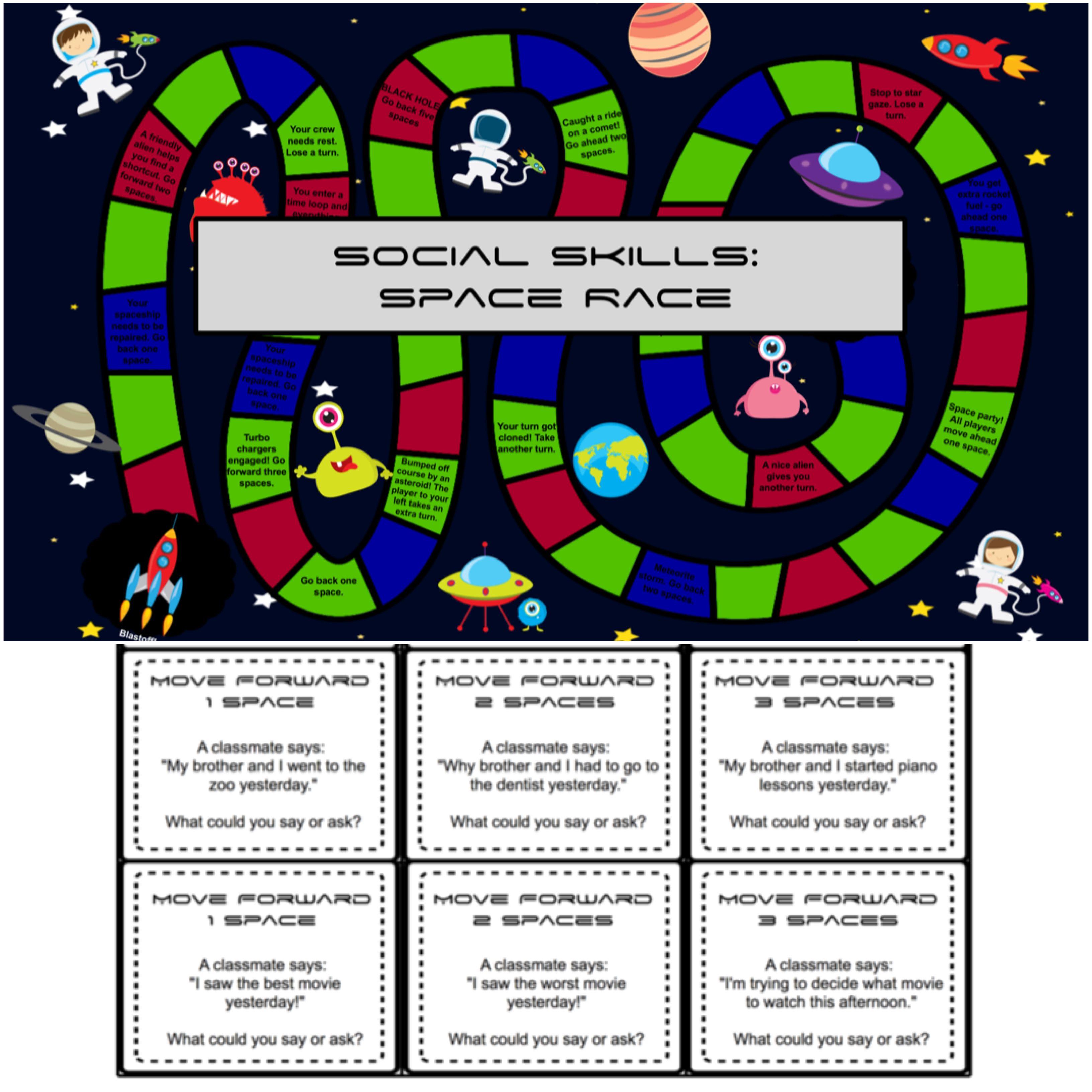 Social Skills Space Race Board Game