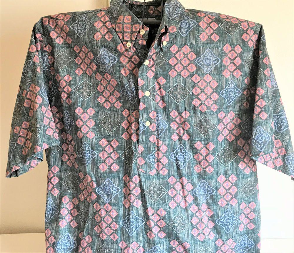 07350e8a Reyn Spooner Pullover Blue Pink Triangles Mens Hawaiian Short Sleeve Shirt  XXL
