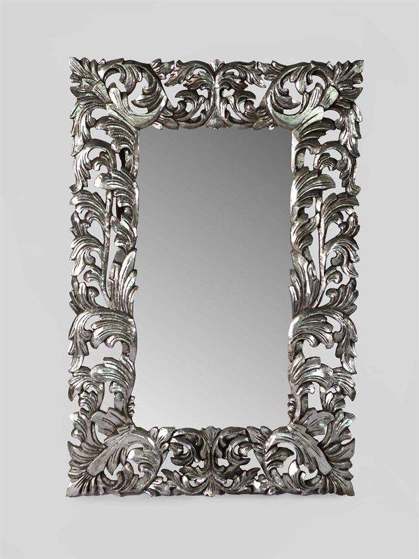Specchio argento stile barocco 150x100 cm baroque for Specchio da parete argento