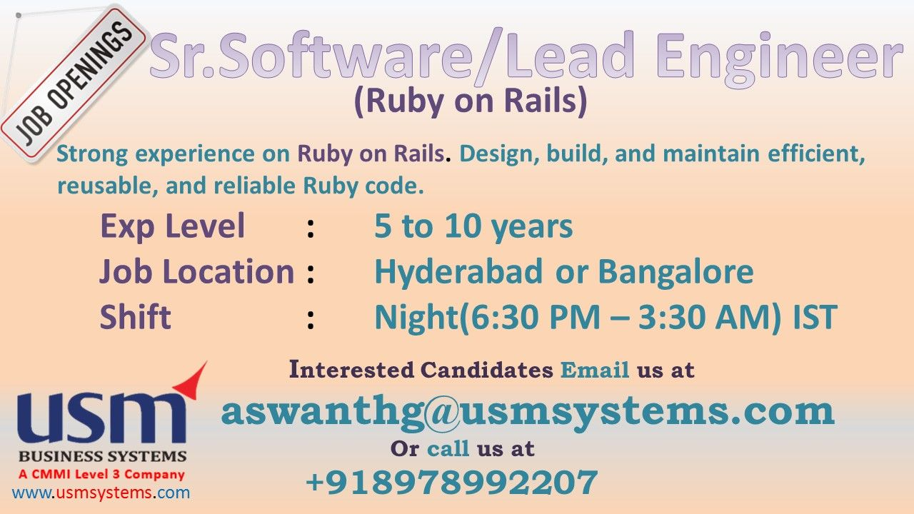 Job Vacancy For Sr Software Engineer Lead Engineer Ruby On