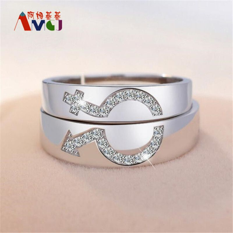 AMGJ Wedding Couple Rings for Men and Women Silver Plated Crystal