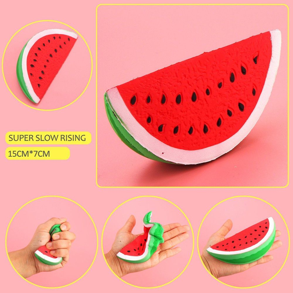 Slow Rising Squishy Jumbo Watermelon Fruit Scented Bread Squeeze Gift Toy Hs Stress Relief Toys Fruit Scent Squishies