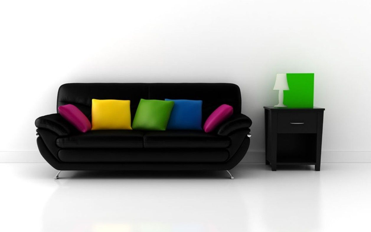 white couches living room with colorful cushions | Fancy Black Sofa Designs For Beautiful Living Room ...