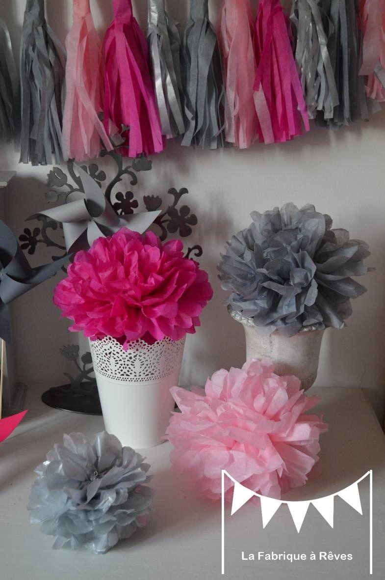 12 pompons papier soie argenté rose fuchsia gris ...