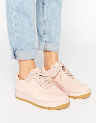 45726ca6614 Nike Air Force 1 Upstep Premium Trainers In Pink Suede