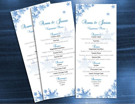 Wedding Menu Microsoft Word Template - Winter Snowflakes for - ms word menu template