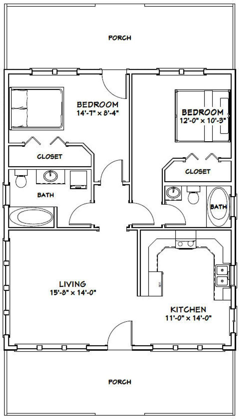 28x34 House 2Bedroom 2Bath 952 sq ft PDF Floor Plan