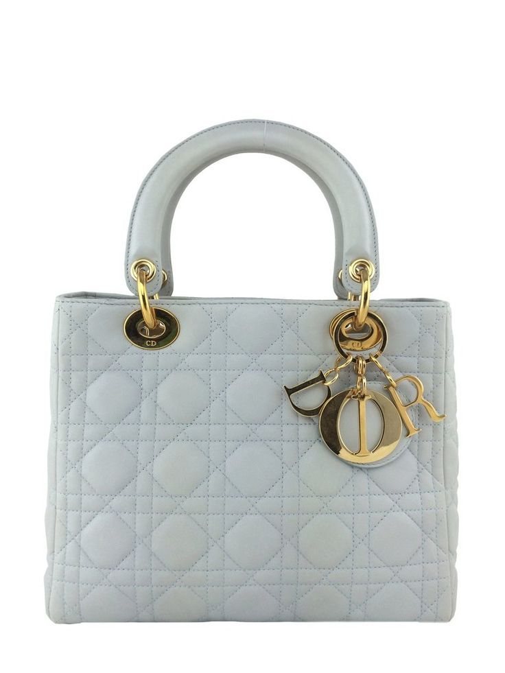 df702bbcd1f Christian Dior Cannage Quilted Lambskin Leather Medium Lady Dior Bag Ivory  - Consigned Designs - 1