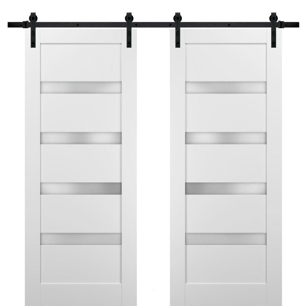 Photo of 4 Pane Horizontal Frosted Glass White French Style Barn Door – 84 x 84 (2 @ 42 x 84) / Stainless Steel