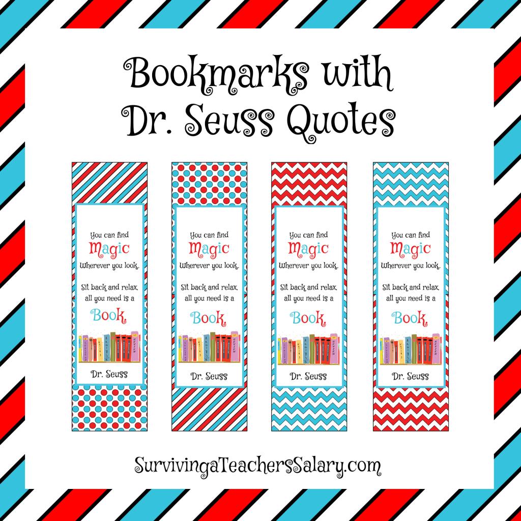 Dr Seuss Printable Reading Log Bookmarks And Award