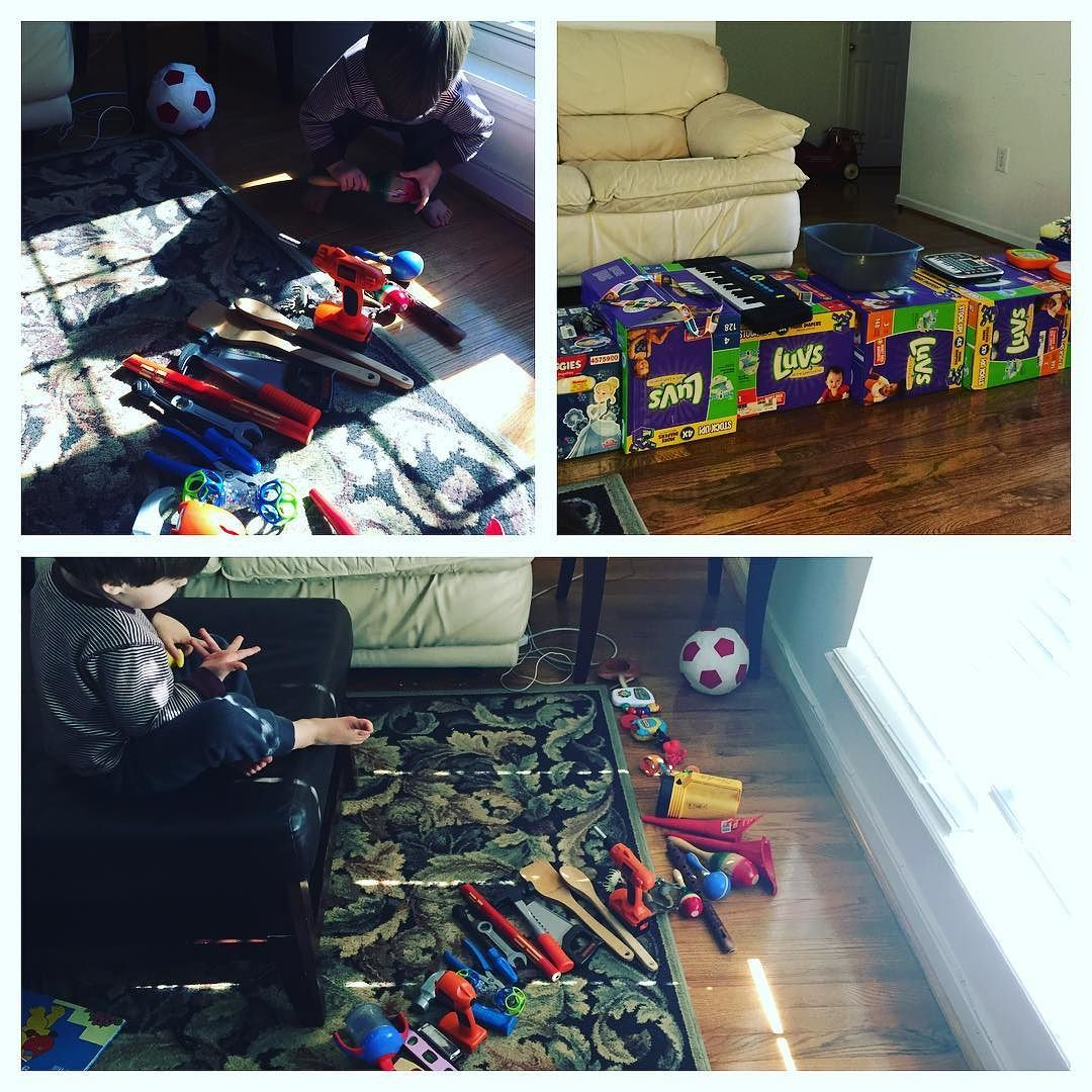 My son loves to line up his tools and toys and instruments.  Love this boy.  #WeekendProject #toddlerorganization #SmartKid #ThankYouJesus #futuregeneration #toolorganizer #musicalinstruments
