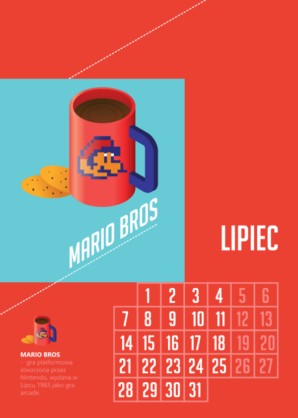 Geek's room. Calendar for 2014 by Kacper Chlebowicz, via Behance