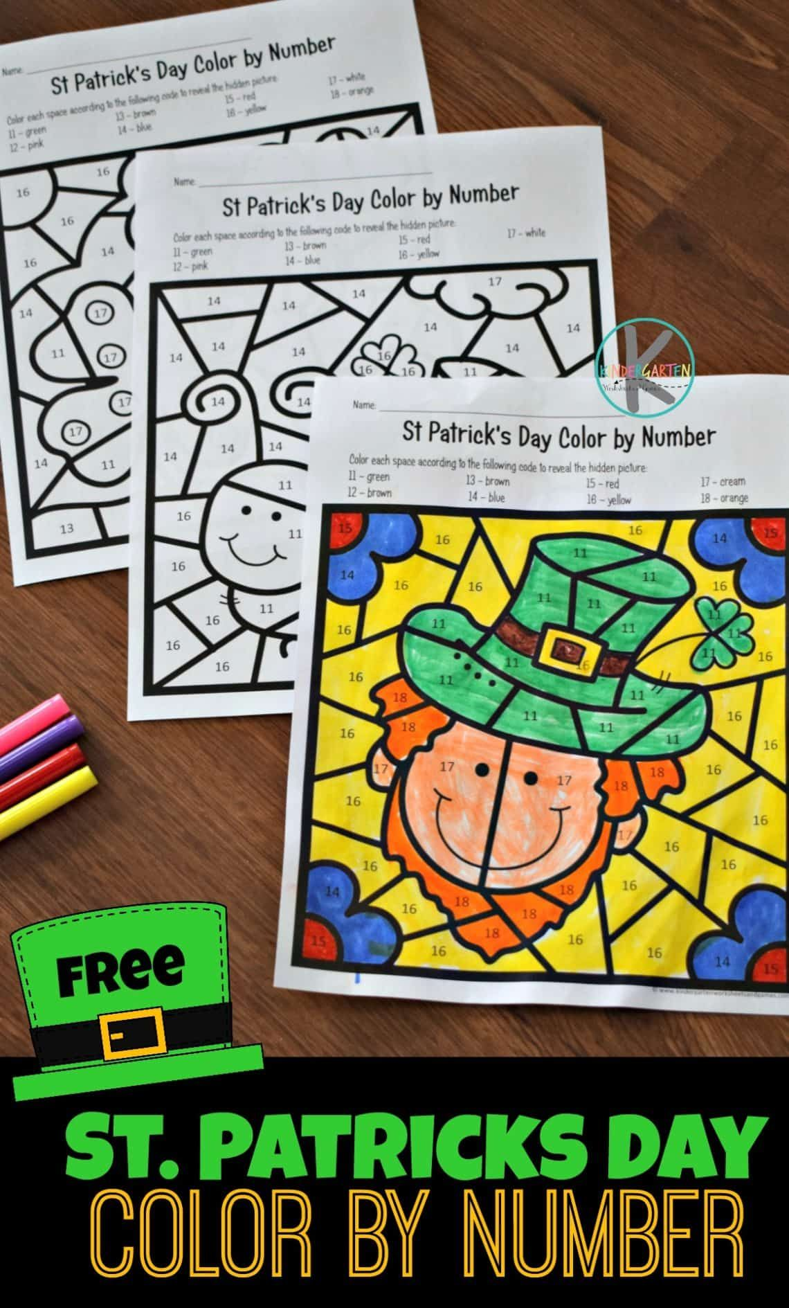 Free St Patricks Day Color By Number