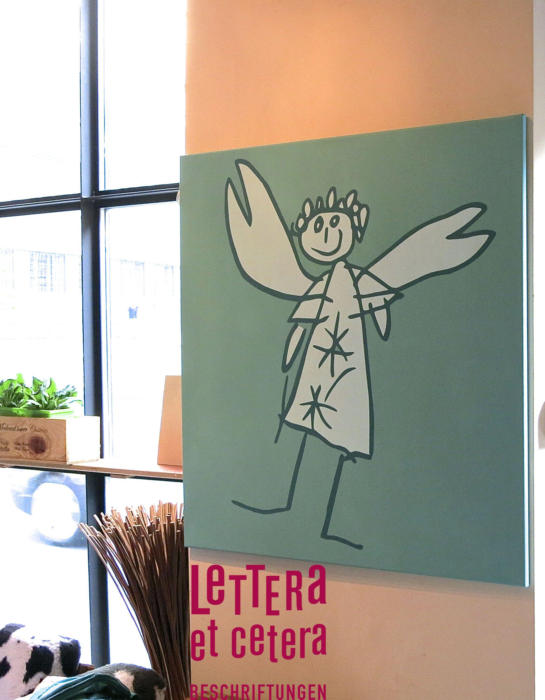 Engel Kinderzeichnung Auf 90x90 Cm Leinwand.. In Den Hochwertigen Farben  Von Le Corbusier.