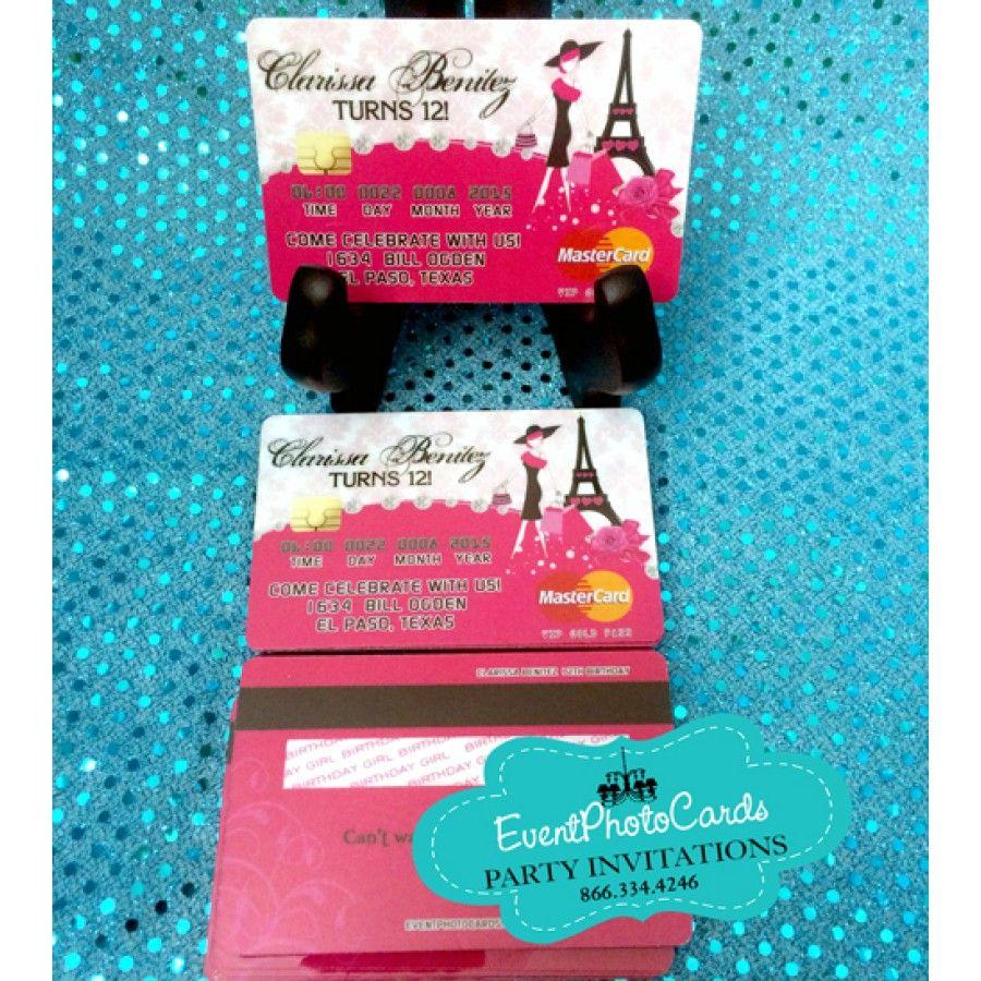 Paris Credit Card Invitations - Pink | Paris Quinceanera Party ...