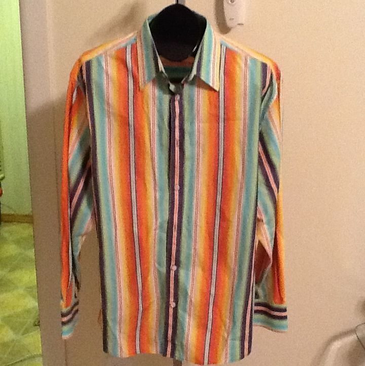 Men's Cezani Vibrant Color Striped Casual Shirt Size L in Clothing, Shoes & Accessories, Men's Clothing, Casual Shirts   eBay