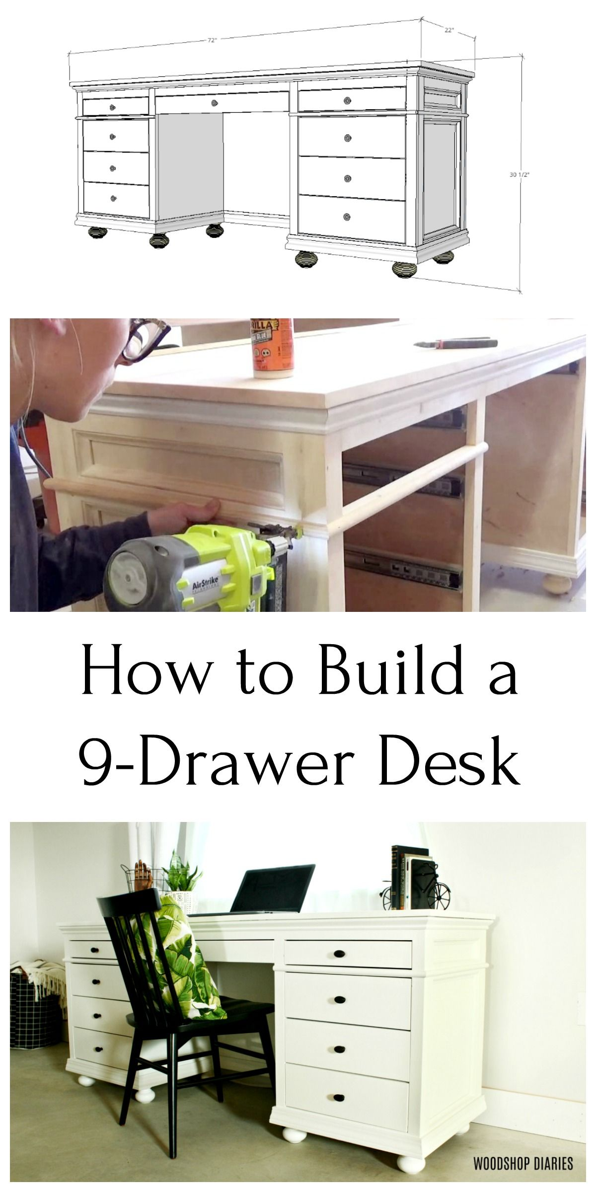 DIY Storage Desk For Home Office Diy storage desk, Diy