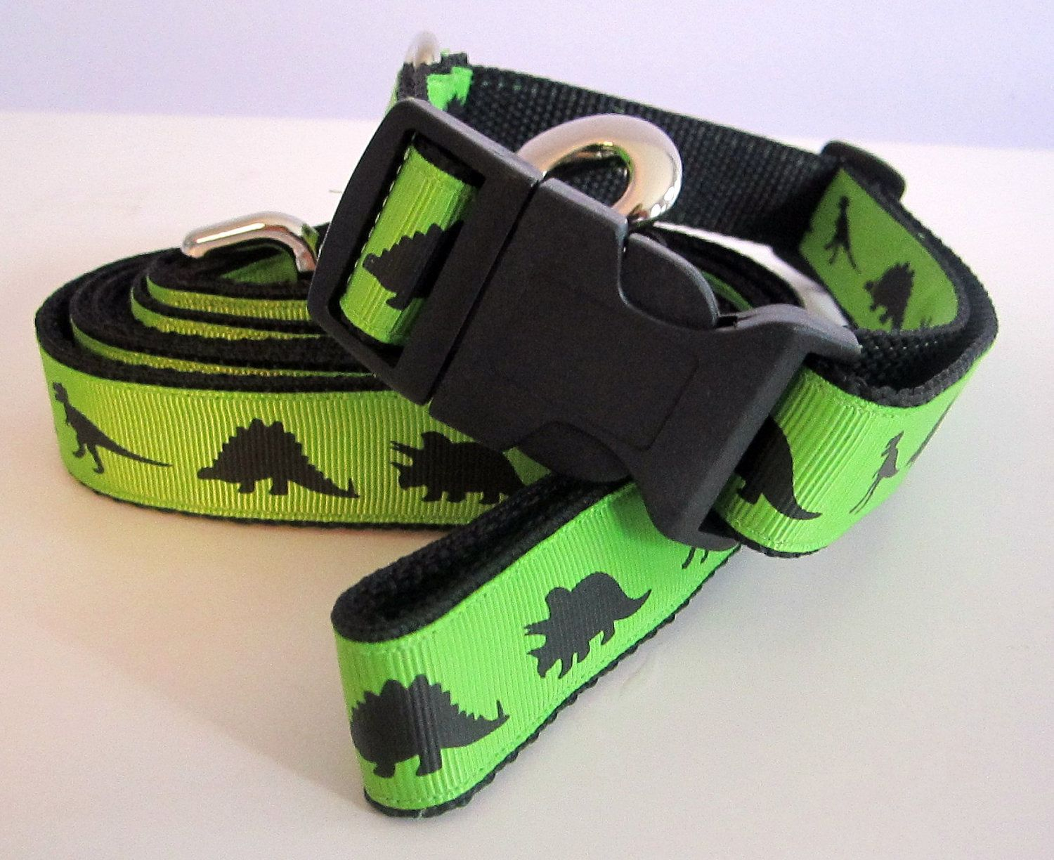 Green Dinosaurs Collar and Leash SET by caninedesign on Etsy. $25.00, via Etsy.