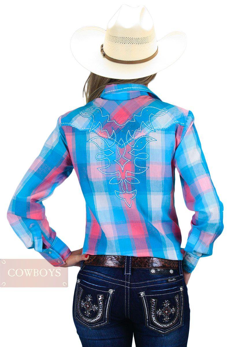 0f9b4e696a Camisa feminina Xadrez Colorido Resistol Camisa feminina