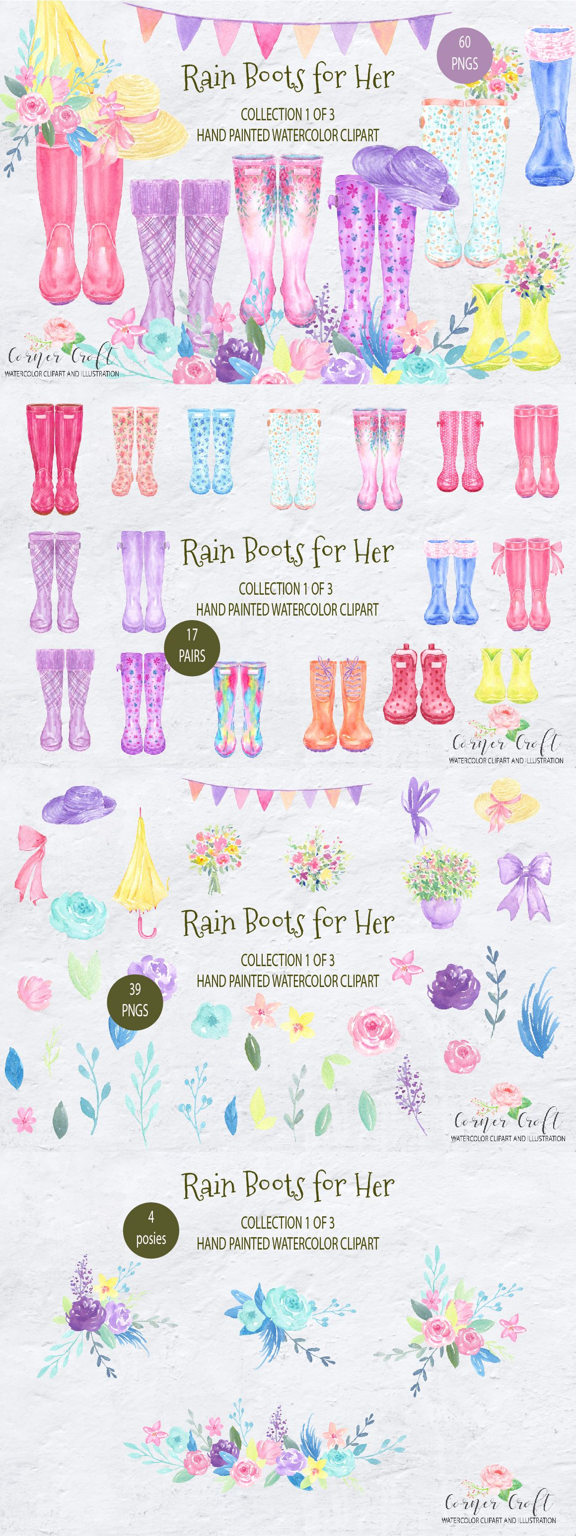 Watercolor Rain Boots For Her Floral Wellington Boots Rubber
