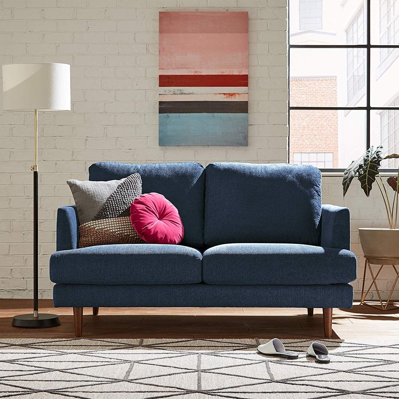 "Rivet Goodwin Modern Loveseat, 61.8""W, NavyBlue Fabric in"