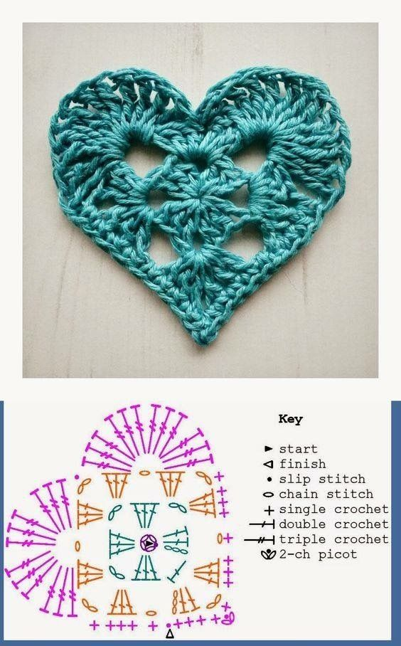 Patrón corazón a crochet by esther | Crochet | Pinterest | Patrones ...