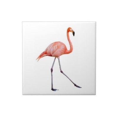 Pink Flamingo Walking Ceramic Tiles Decor Ideas