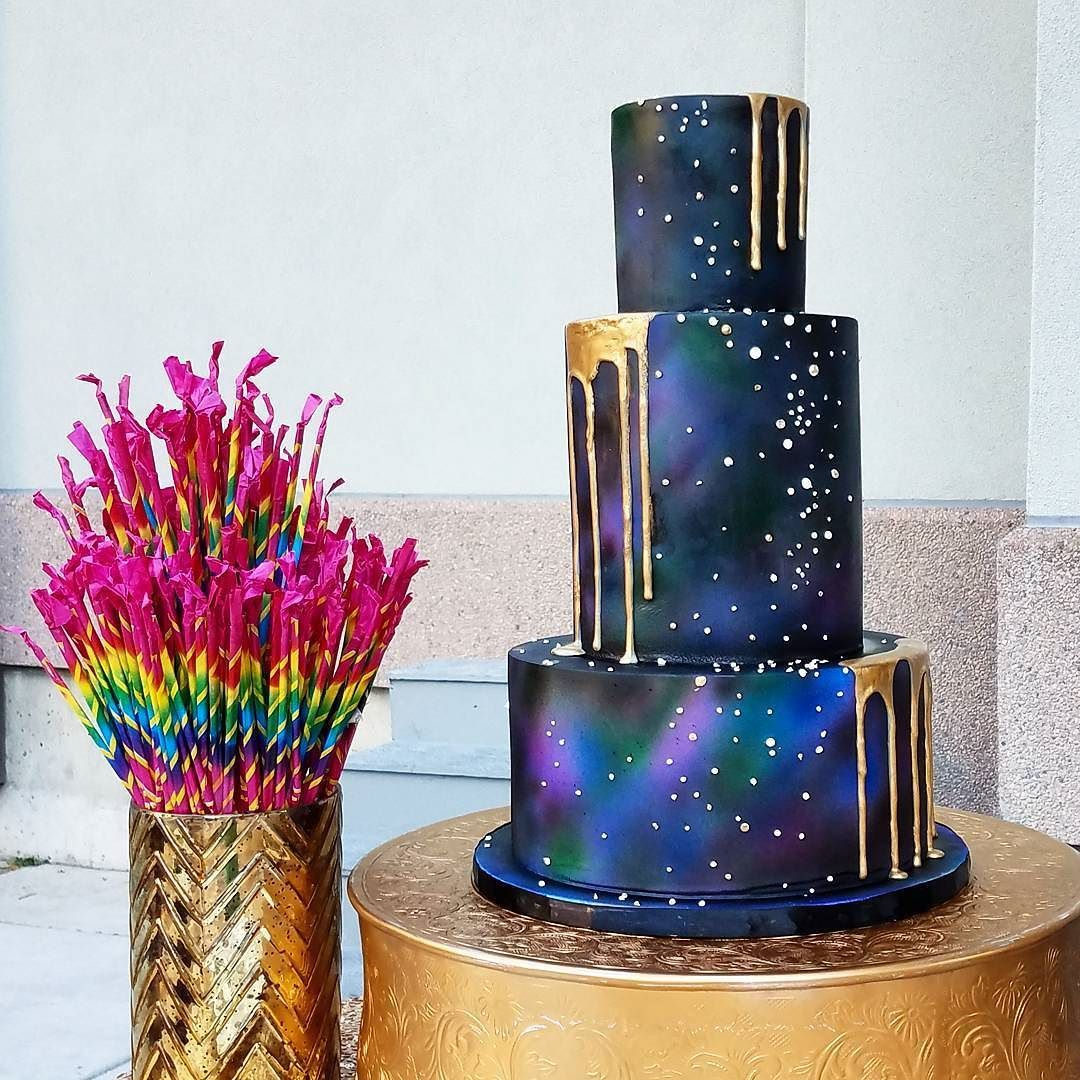Dark galaxy cake with gold drips for a really cool bride Check InstaStories for more photos #mysugarrush