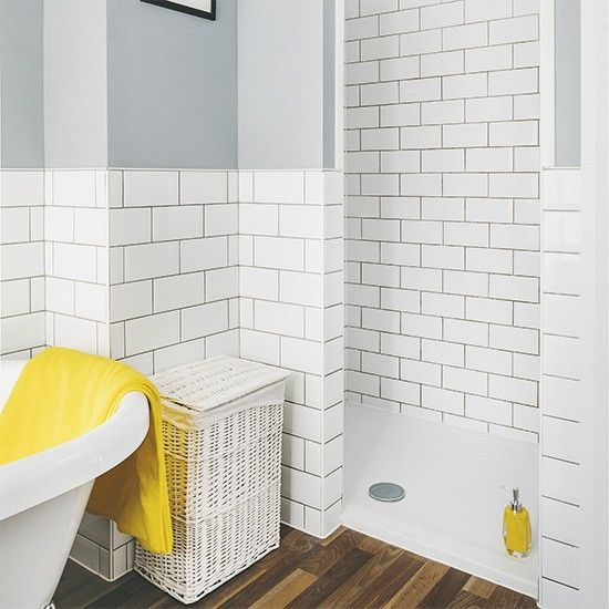 looking for bathroom ideas take a peek of this white bathroom with metro tiles and yellow accents