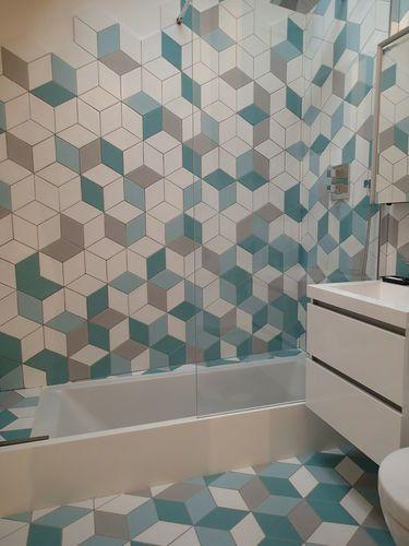 Carrelage de salle de bain mural en gr s c rame for Carrelage losange diamant