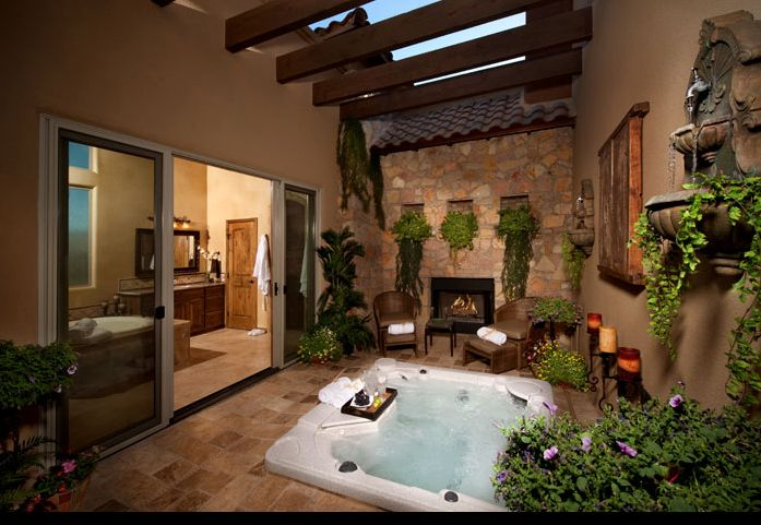 outdoor #living #fireplace #spa Outdoor Living Pinterest