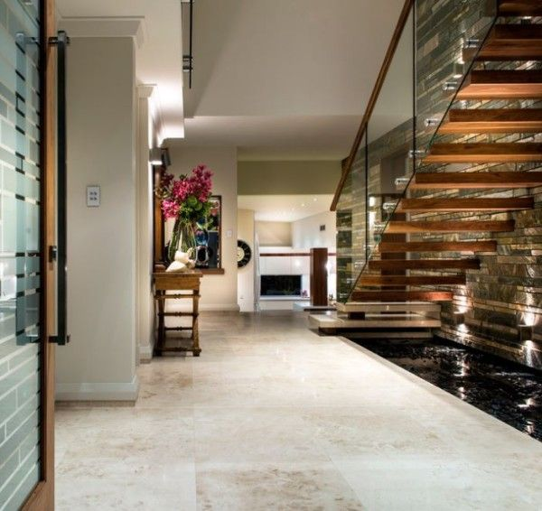 Water Feature Under A Modern Staircase Indoor Water Features
