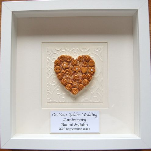 Personalised Golden Wedding Anniversary Box Frame 21 99