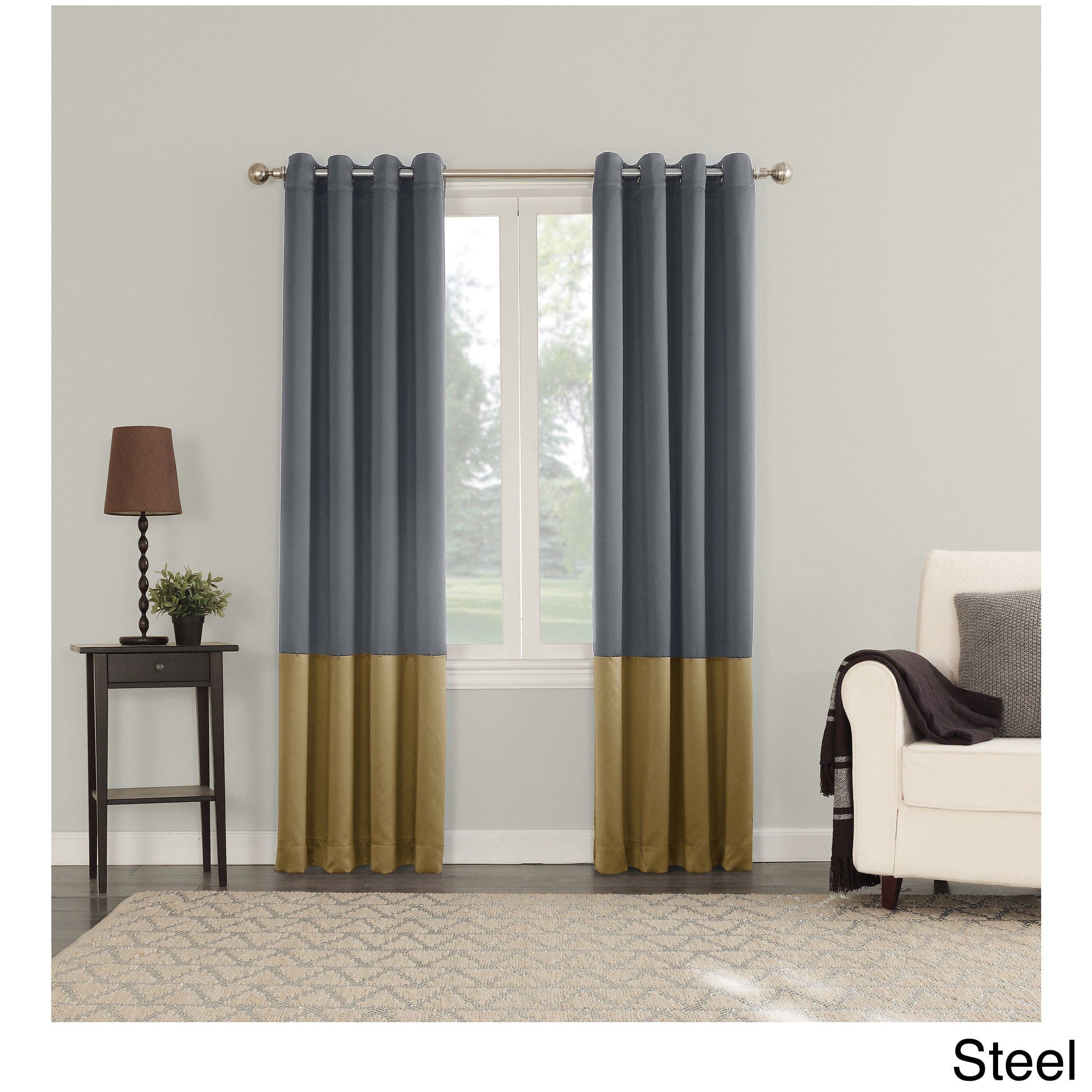 Sun Zero Plymouth Room Darkening Lined Grommeted Curtain
