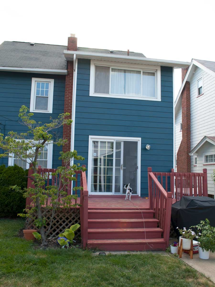 Dark Teal House Paint Reveal Before And After And Then We Tried Teal House House Exterior Blue House Painting