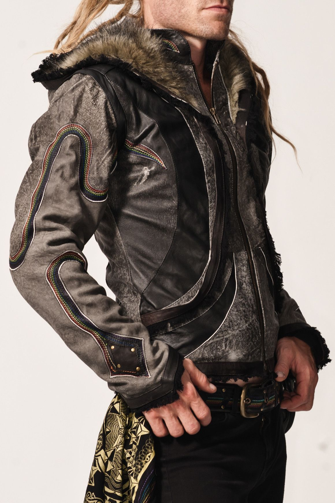 - 1Info - Size Chart The Rainbow Serpent jacket features hand stitched rainbow detailing that runs the length of the sleeves from the heart and winds from hood to waist. Nestled within the coils of th