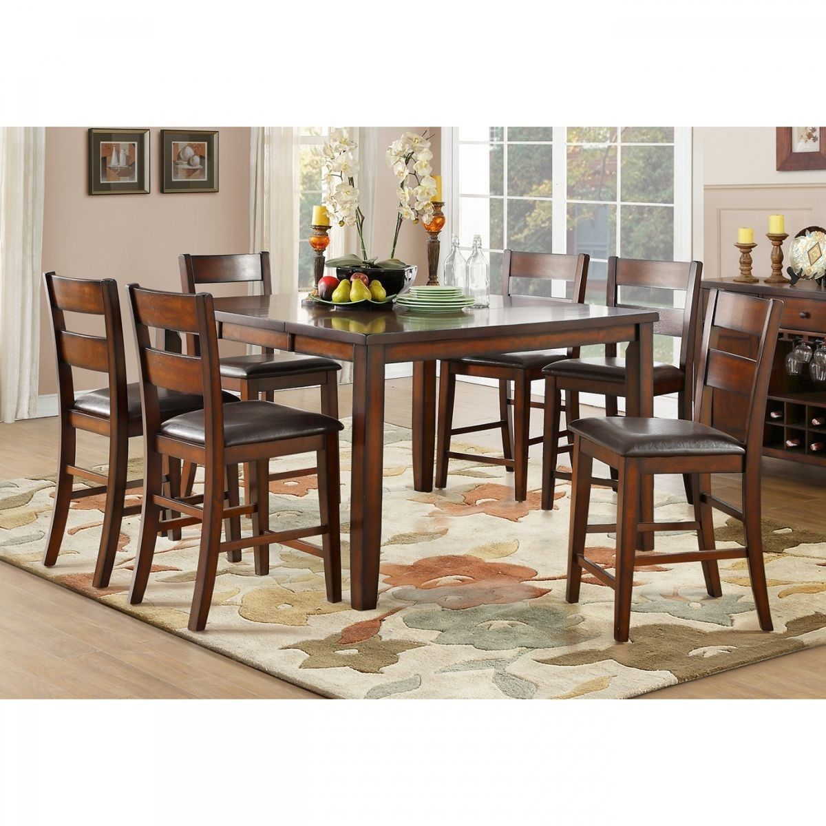 Badcock More Mantello 5 Pc Cherry Counter Height Dining Room Kitchen Table Settings Top Kitchen Table Kitchen Table Wood