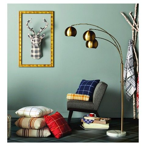 3 Globe Arc Floor-Lamp Antique Brass -Threshold, Brown | Antique ...