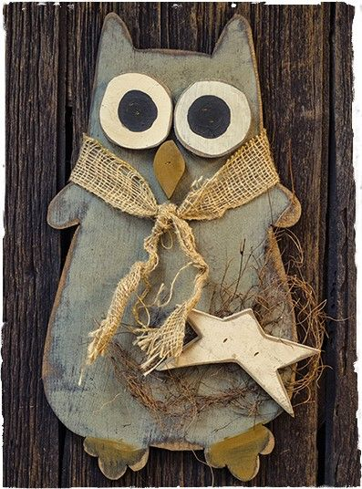Large hanging wooden owl about primitive crafting for Wood art craft ideas