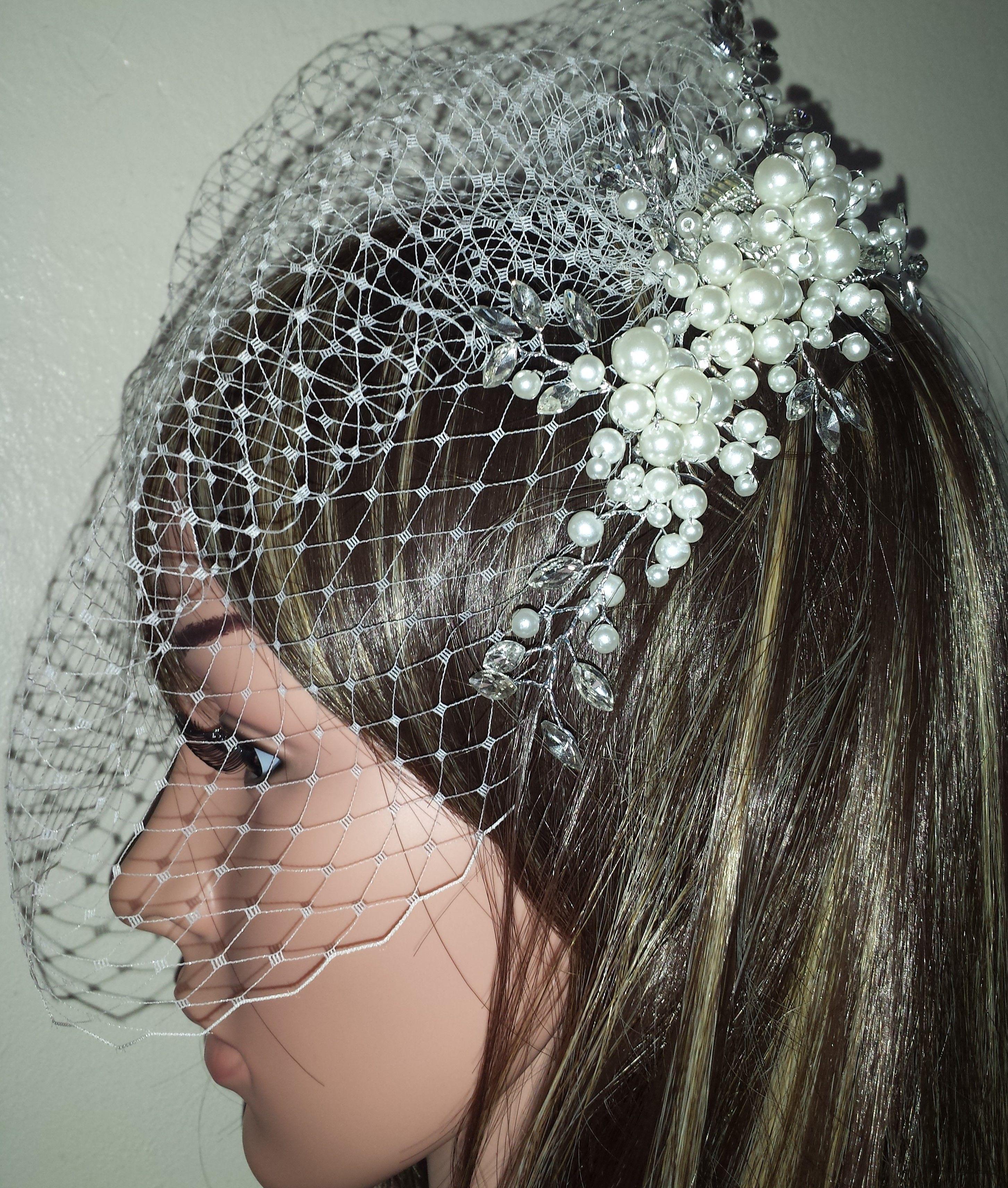 birdcage wedding bridal veil. diamante and pearl sliver tone