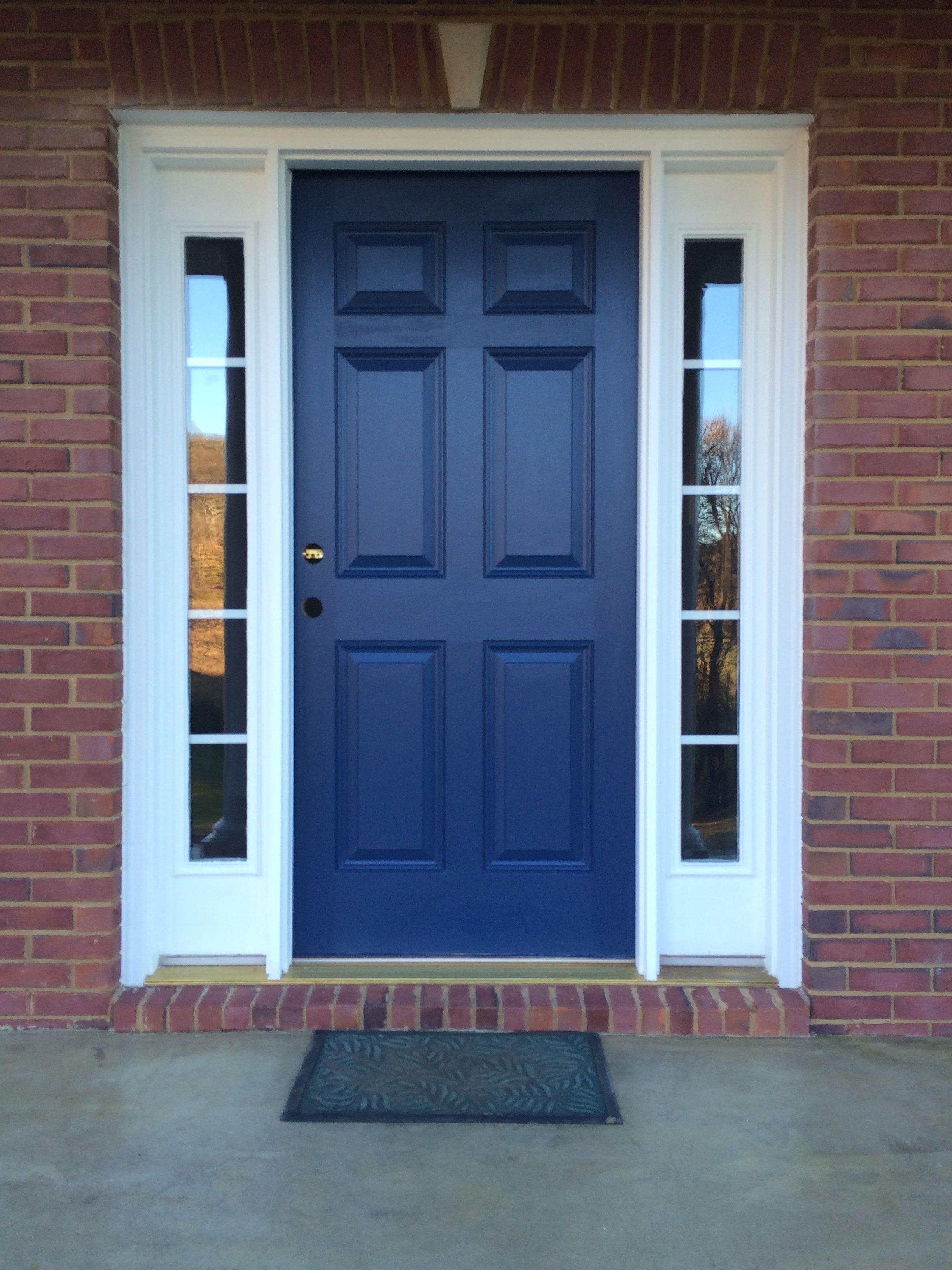 red brick house door colors |  door i love this color blue and