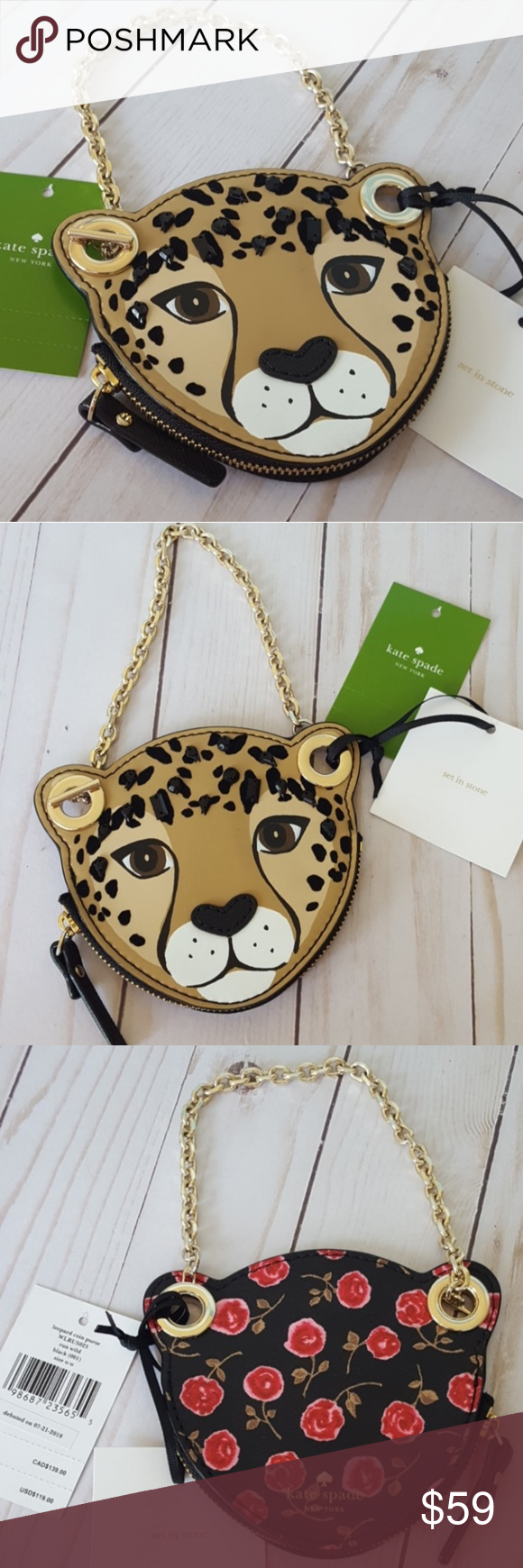 run wild leopard coin purse