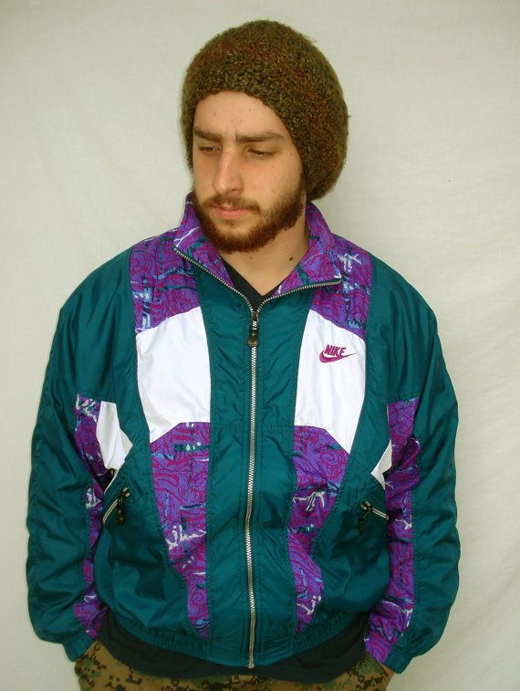 7d72199355 Vintage 90s Nike Windbreaker Jacket Teal Purple Mens Med Abstract ...