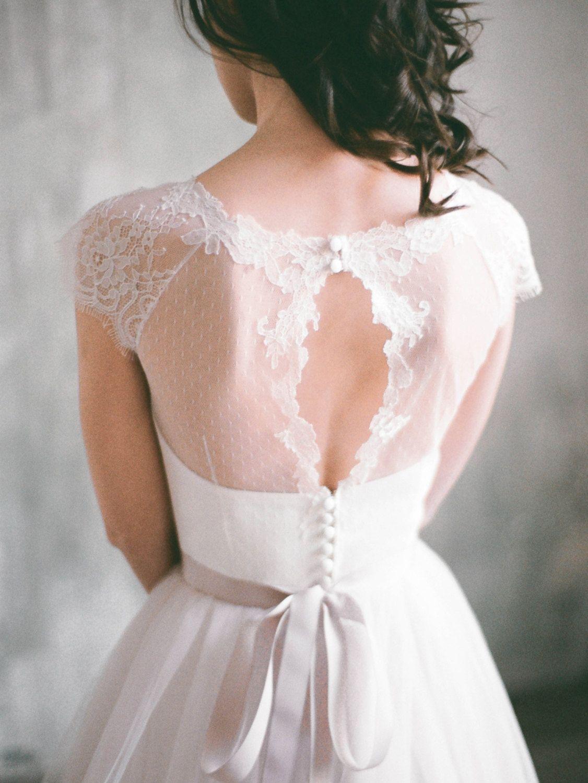 Angara - keyhole back short sleeve wedding dress, tulle wedding gown ...