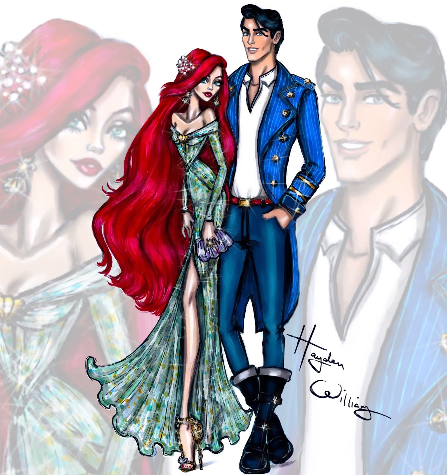 ariel and eric. Hayden Williams  Disney Darling Couples Ariel and Prince Eric Fashion Illustrations by