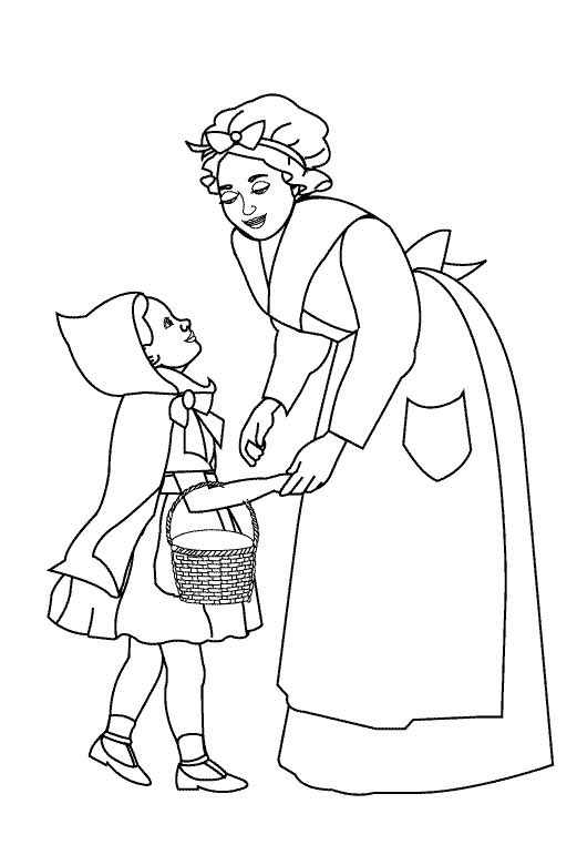 Little Red Riding Hood And Mom Coloring Pages Kaarten