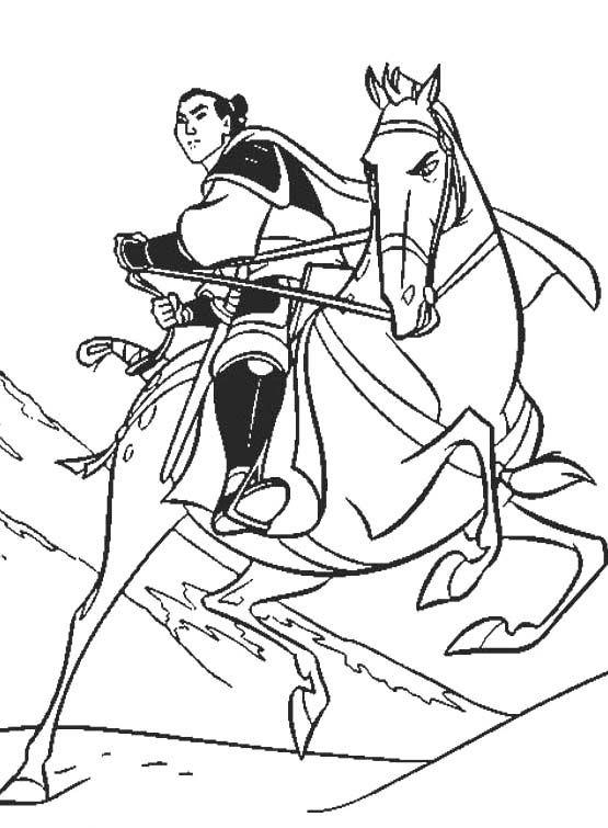 Princess Mulan Riding Horse Coloring Pages
