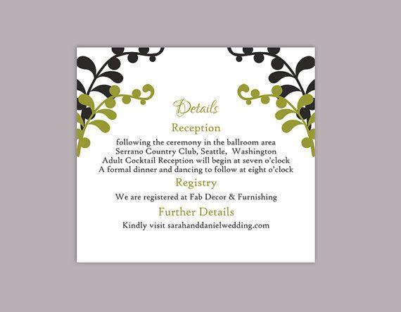 Diy Wedding Details Card Template Editable Text Word File Download Printable Details Card Black Details Card O Wedding Details Card Diy Wedding Wedding Details