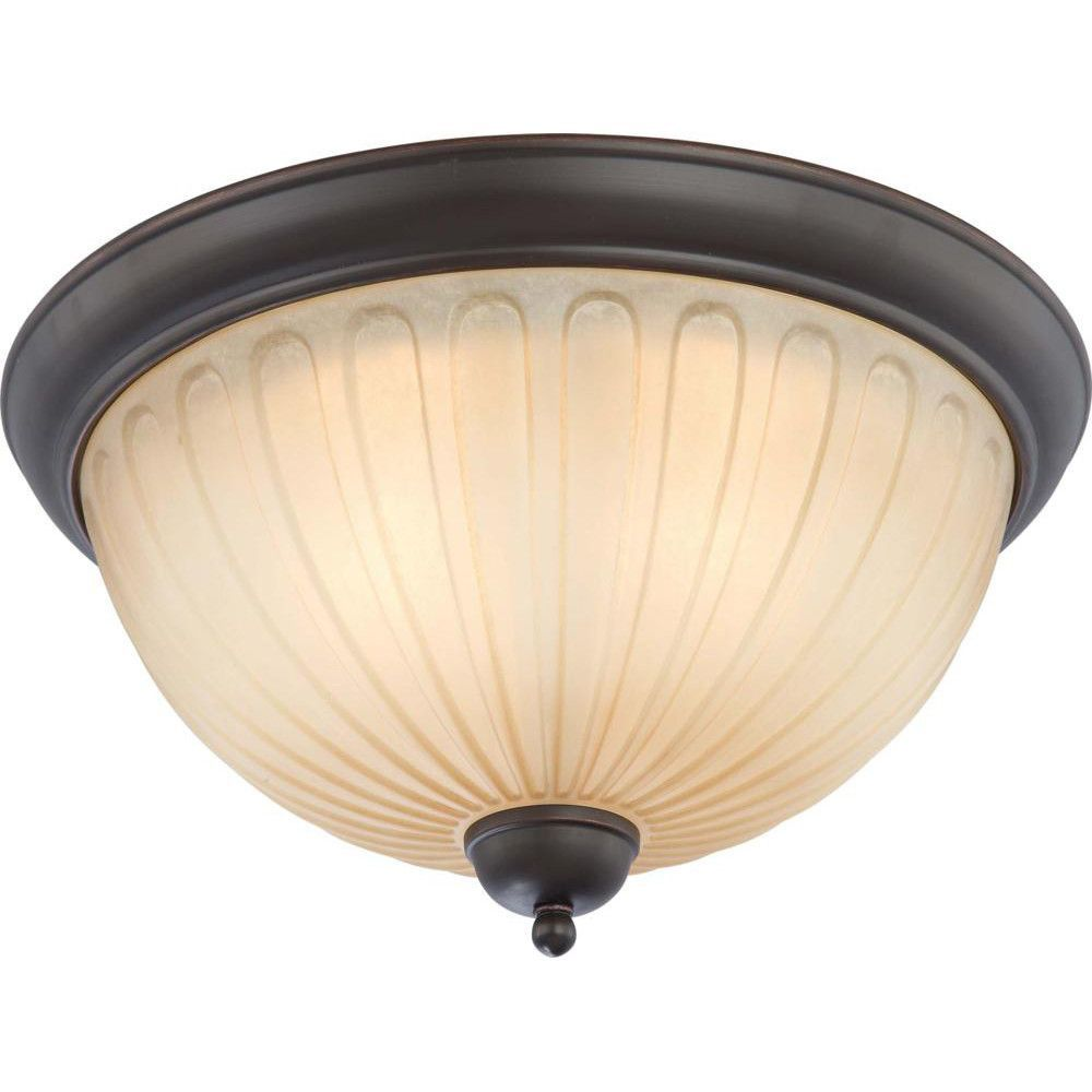 Nuvo Carousel - 3 Light Flush Dome Fixture w/ Auburn Beige Glass