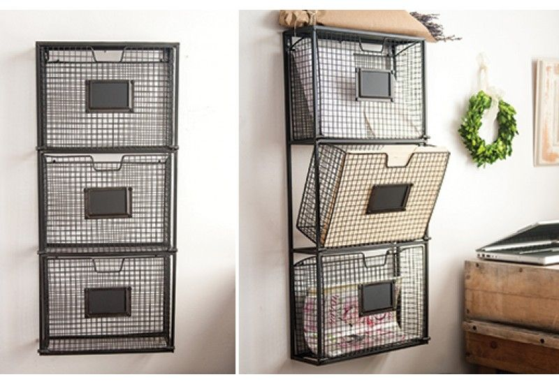Huge Hanging File Organizer W 3 Tilting Baskets Hanging File Organizer Hanging Files Wall File